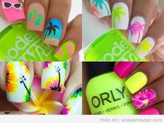 Ideas y tutoriales paso a paso para aprender a hacer decoraciones de uñas de verano con caracolas, estrellas, mar, olas, playa, flores tropicales y frutas.