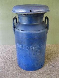 Antique Milk Can RICHMOND DAIRY Vintage Primitive Large Faded Blue Paint #RichmondDairy