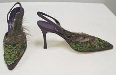 Shoes  Manolo Blahnik  (British, born Spain, 1942)  Date: 2007 Culture: British Medium: (a, b) silk, feathers