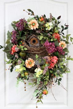 Front Door Wreath, Spring Wreath, Country Wreath, Hydrangeas, Rustic Birdhouse, Great for Cdountry Decor via Etsy.