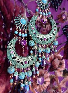 Large Exotic Green Verdigris Moroccan Moon Earrings, Turquoise Bohemian Gypsy, Amethyst Purple Crystal, Gold, Bronze or Silver Gemstone Hoop Amethyst Crystal, Crystal Rhinestone, Crystal Beads, Swarovski Crystals, Gypsy Jewelry, Indian Jewelry, Vintage Jewelry, Unique Jewelry, Jewlery