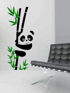 Panda Bear Graphic Vinyl Wall Decal Art  2 Color by Stickyzilla, $29.99