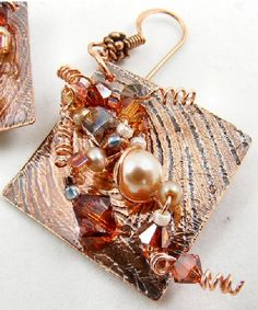Embellished Etched Copper Earring, by Sweet Freedom Designs