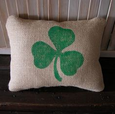 Burlap Shamrock PillowSt Pat's Day by FannyElizabethDesign on Etsy, $11.95