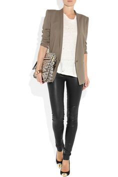 The look: Leather leggings/skinny pants-- A way to give this look more polish.