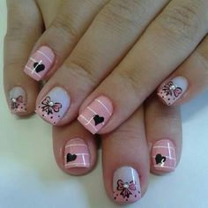 Tierno! Hot Nails, Pink Nails, Holiday Nails, Christmas Nails, Nails For Kids, Nail Time, Simple Nail Art Designs, Disney Nails, Cute Nail Art