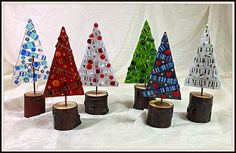 Whimsical Christmas Trees, Tabletop Christmas Tree, Little Christmas Trees, Glass Christmas Tree, Aspen, Portland, Charlie Brown Tree, Wooden Display Stand, Fused Glass Ornaments