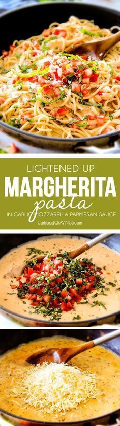 25 Minute LIGHTENED UP Margherita Pasta bursting with fresh tomatoes and basil in a garlic, mozzarella Parmesan sauce! your favorite Margherita pizza in creamy pasta form!