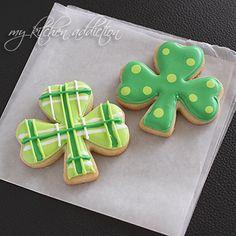 Polka Dot and Plaid Shamrock Cookies