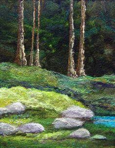 "#680 Deep Woods | 11 x 14"" needlefelted wool on felt :) | Deebs Fiber Arts | Flickr"