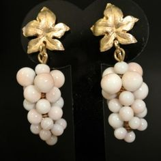 Spectacular vintage coral earrings - Antique Goodies
