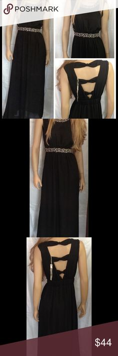 """Semi-formal maxi with cute back. Size NWT Med. Cute, trendy. Long, maxi style, light sheer material. Lined to above the knee. Gathered at waist. Embroidered design at waist and neckline. Back is knotted as shown. Zippers up the side. New with tags, never worn. Measures approx. 58"""". Bust measures approx. 36"""" from armpit to armpit. This is cute and can be worn to many events. Ya Los Angeles Dresses Maxi"""