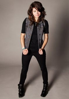 Tay Jardine, of We Are The In Crowd, mixes it up with a sleeveless jean jacket.