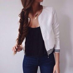 beautiful, beautifull, black, brown, fashion, fashionista, fishtail, follow, girl, hair, hairstyle, hairstyles, inspiration, jacket, jeans, like, long, me, outfit, shirt, style, stylish, top, white
