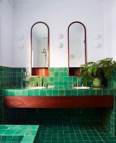More than 30 cute ideas of emerald green bathroom tile designs TRENDHMDCR Bathroom Tile Designs, Bathroom Interior Design, Decor Interior Design, Interior Decorating, Bathroom Ideas, Bathroom Vanities, Decorating Games, Design Interiors, Interior Ideas