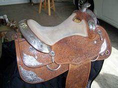 "16"" Stunning Silver Mesa Western show saddle from BitsAndBridles.com"
