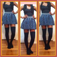 OOTD     - Black peplum top tucked in   - Black/blue/Gray leopard print skirt    - Black thigh high socks     And though this picture doesn't show it I thought I should still mention it.    Hair:  Senegalese twist curled. Half swapped to the side (held by black elastic)  Topped with a blue flower     Makeup:  I have simple black wings eye liner on my eye lid and a bright blue eye liner on my on my lower waterline blended with the black at the outer corners.