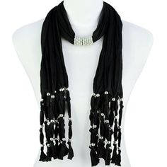 Black Jewelry Necklace Scarf Silver Beads Pendant Charms Long Tassel , NL-1440E