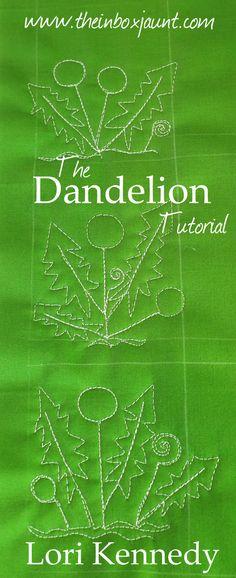Dandelion, Free Motion Quilting