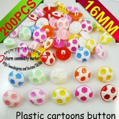 200PCS mixed  plastic football pattern cartoons sewing cloth kids  button clothes findings P-028 $4,47