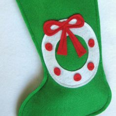 Wreath Christmas Stocking  Eco Friendly Felt by stitcholicious, $17.00