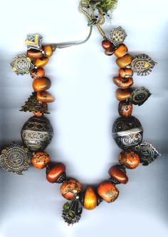 LP designed necklace combining large Tibetan coral and amber beads with Himachel Pradesh and Tiznit enameled silver on antique dori string Jewelry Model, I Love Jewelry, Tribal Jewelry, Beaded Jewelry, Jewelry Art, Jewelry Design, Jewelry Making, Jewellery, Silver Jewelry