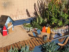 Planted into a large blue chest. Blue Chests, Perth, Succulents, Miniatures, Patio, Display, Garden, Outdoor Decor, Plants