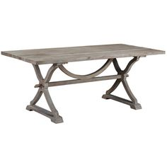 Gather friends and family around this trestle-style dining table, crafted of salvaged hardwood for timeworn appeal. Add a lace runner and crisp plates for...