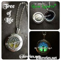 Glowies.net - Tree of Life Glow in the dark Locket blue and green glow in the dark grass and sky locket opens for pictures