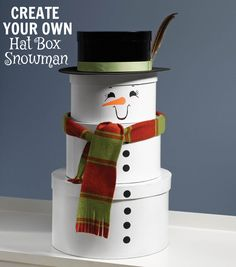 Super cute holiday craft! Created your own Stacked Hat Box snowman with help from Joann.com!