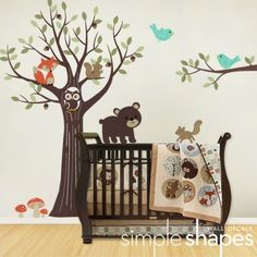 Tree with Forest Friends Decal Set - Baby Nursery Wall Sticker   SimpleShapes - Furnishings on ArtFire