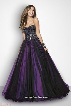 <3 black and purple breast cut gown