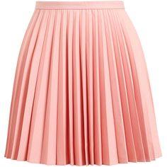 J.W.ANDERSON Sunray Pleated Wool Miniskirt ($280) ❤ liked on Polyvore featuring skirts, mini skirts, bottoms, saias, faldas, wool mini skirt, short pleated skirt, pink pleated skirt, pleated miniskirt and mini skirt