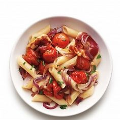 Roasted Tomato and Pancetta Penne. Mr. Mozzie's stocks delicious pancetta.