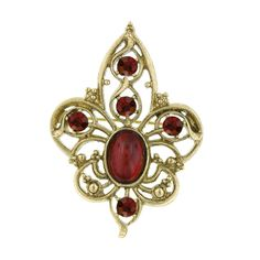 1928 Gold-Tone Red Filigree Fleur de Lis Brooch (150 DKK) ❤ liked on Polyvore featuring jewelry, brooches, brooch, goldtone jewelry, filigree brooch, gold colored jewelry, gold tone jewelry and red brooch