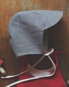 Striped denim baby cap