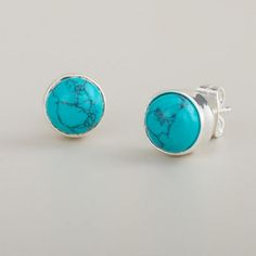 One of my favorite discoveries at WorldMarket.com: Round Turquoise Stud Earrings