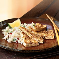Peanut-Crusted Tofu Triangles Vegetarian Recipe