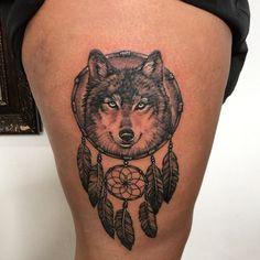 Wolf Dreamcatcher Tattoo | Tattoo Ideas and Inspiration Dream Tattoos, Mom Tattoos, Cute Tattoos, Tattoos For Guys, Sleeve Tattoos, Tattoos For Women, Dream Catcher Tattoo, Dream Catchers, Wolf Dreamcatcher Tattoo