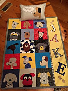 Sewing Quilts Awesome baby quilt made with a pattern from Shiny Happy World. - Fabulous quilts made with patterns from Shiny Happy World. Quilt Baby, I Spy Quilt, Baby Quilt Patterns, Dog Quilts, Cute Quilts, Animal Quilts, Amish Quilts, Quilting Projects, Quilting Designs