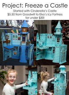 As a Christmas Gift I upcycled an old Cinderlla's Castle Barbie House into a Frozen Elsa's Ice Castle creation complete with glitter and lots of hand glued bling all for under $30!!!!