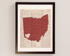 Cincinnati Ohio Dictionary Art Print - Ohio Art - Print on Vintage Dictionary Paper - I Heart Cincinnati - Choose Your Color on Etsy, $10.00