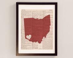 Cincinnati Ohio Dictionary Art Print - Ohio Art - Print on Vintage Dictionary Paper - I Heart Cincinnati - Choose Your Color on Etsy, $10.00