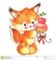 Funny Squirrel Cute Pets Watercolor Illustration Stock Illustration - Image: 54745138