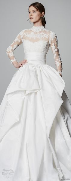 marchesa spring 2018 bridal long sleeves illusion high neck sweetheart neckline heavily embellished princess ball gown a  line wedding dress sheer lace back chapel train (11) zv -- Marchesa Bridal Spring 2018 Wedding Dresses #wedding #bridal #weddingdress #romantic #ballgown
