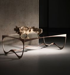 Metal Glass Contemporary Memphis Coffee Table by Tom Faulkner