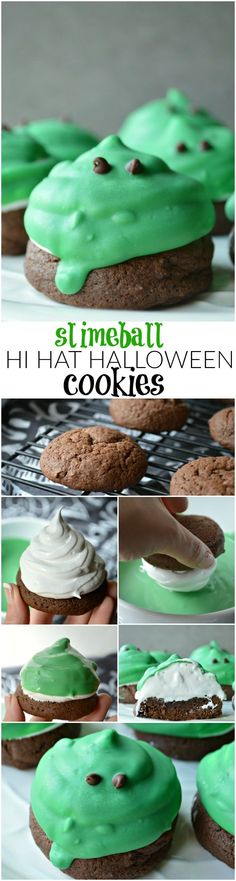 So much fun for Halloween! These Slimeball Hi Hat Halloween Cookies are topped with fluffy homemade marshmallow frosting and dipped in chocolate for a spooky sweet treat