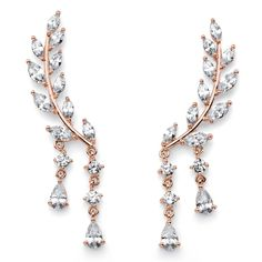 PalmBeach Marquise and Pear-Cut White Crystal Laurel Leaf and Hanging Crystal Accent Ear Climber Earrings Rose Bold Fashion