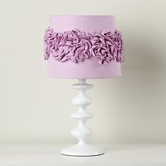 Purple Table Lamp Shades: Purple Ruffled Lamp Shade - DIY project in Pink or Cream?,Lighting