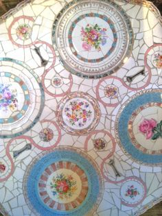 Mosaic Table of Recycled Vintage China by Brenda Mason